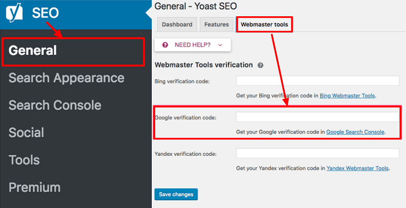 Yoast-webmaster-tool-verification